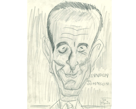 Joe Mathieu Caricatures Lyndon Johnson
