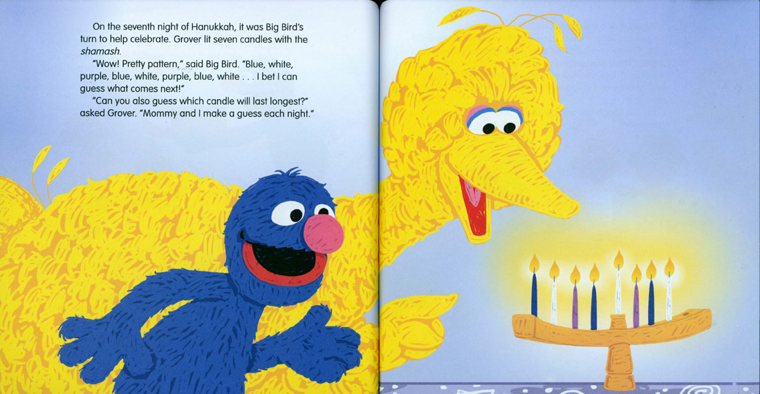 Grover's Eight Nights of Light pages 20-21