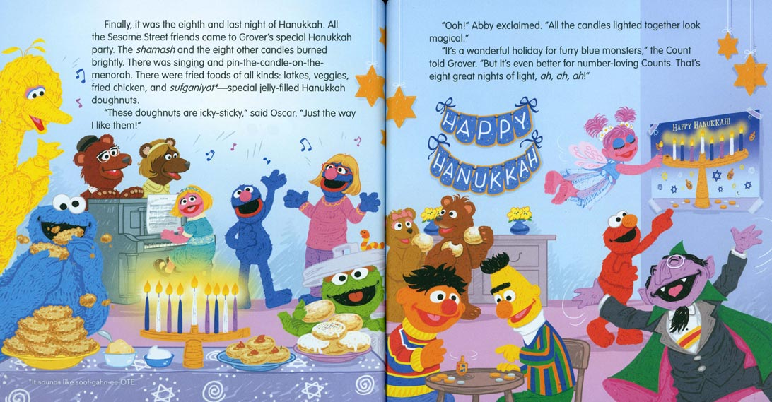 Grover's Eight Nights of Light pages 22-23