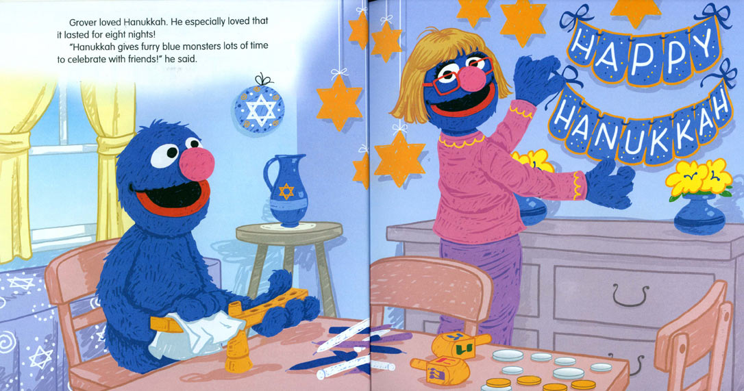 Grover's Eight Nights of Light pages 4-5