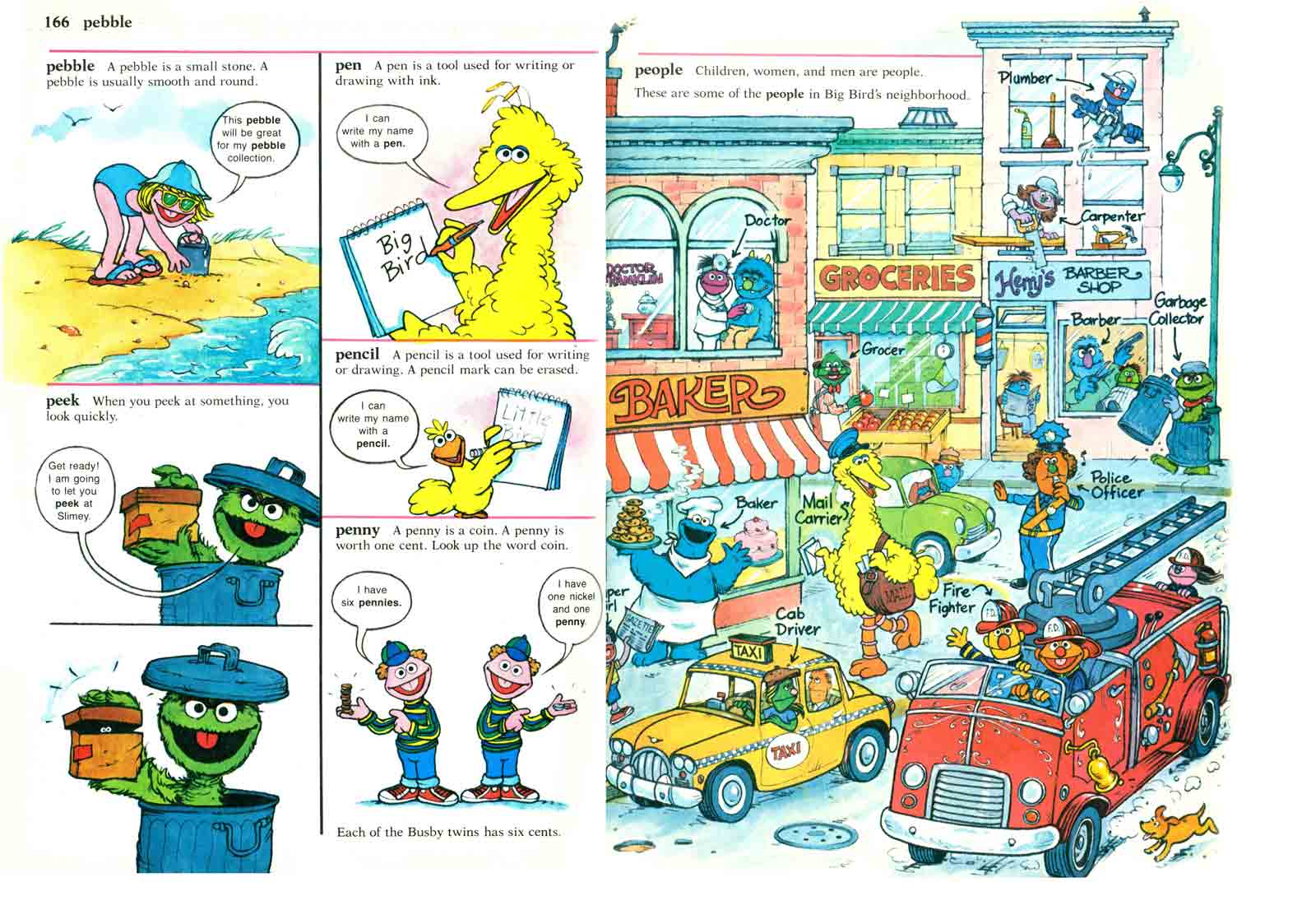 Sesame Street Dictionary pages 166-167