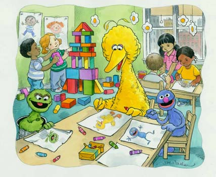 Joe Mathieu Art for Sale The Color of Me with Big Bird